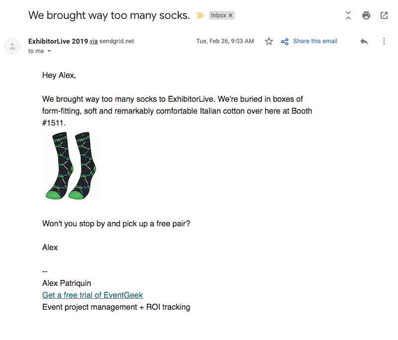 EventGeek email marketing to ExhibitorLive 2019 attendees