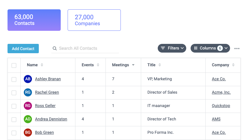 Manage meetings at events