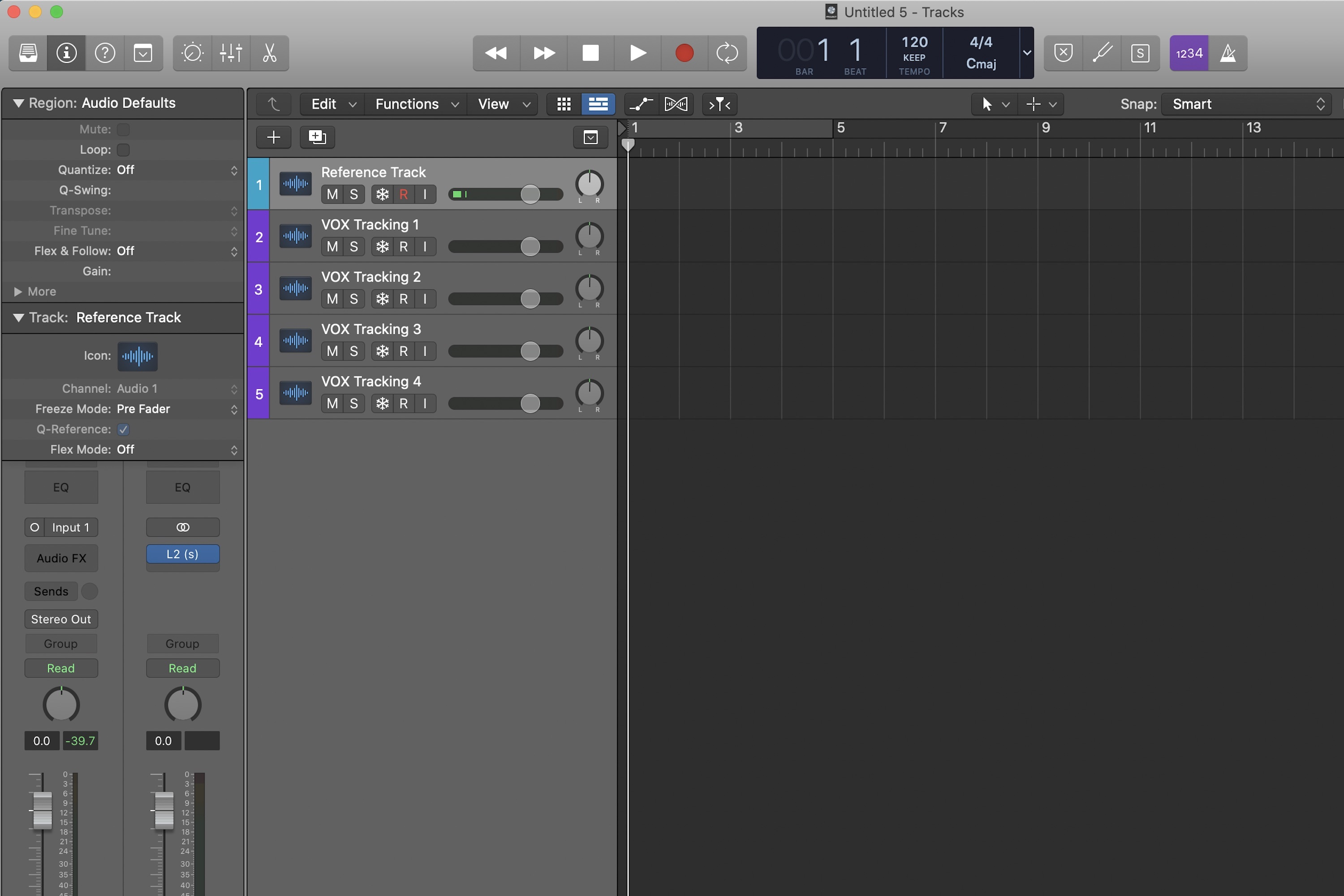Logic Pro X new project with reference tracks and vocal tracks.