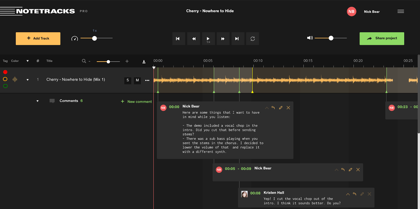 Notetracks Pro dashboard with song feedback pinned to the timeline of a demo song.