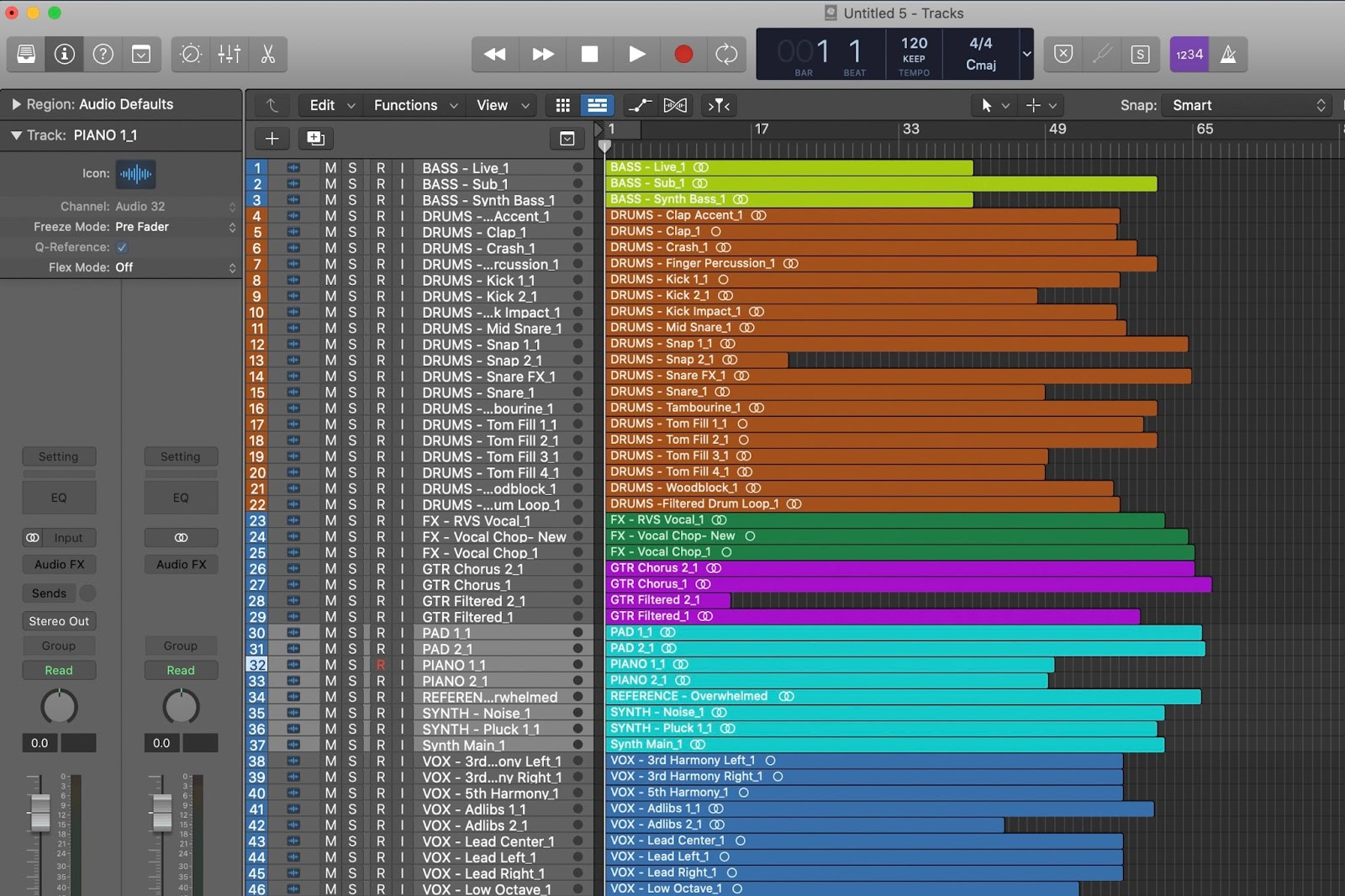 Logic Pro X song session with stems and files labeled and organized before exporting.