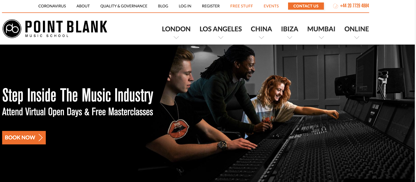 Point Blank Music School homepage with students learning in front of a mixing console.