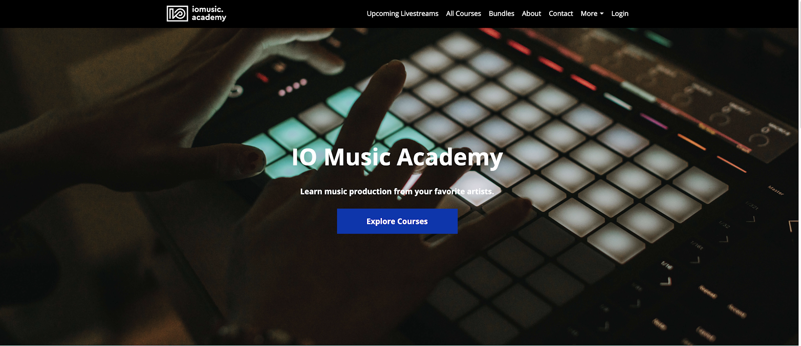 Homepage of IO Music Academy featuring a person playing an Ableton Push.