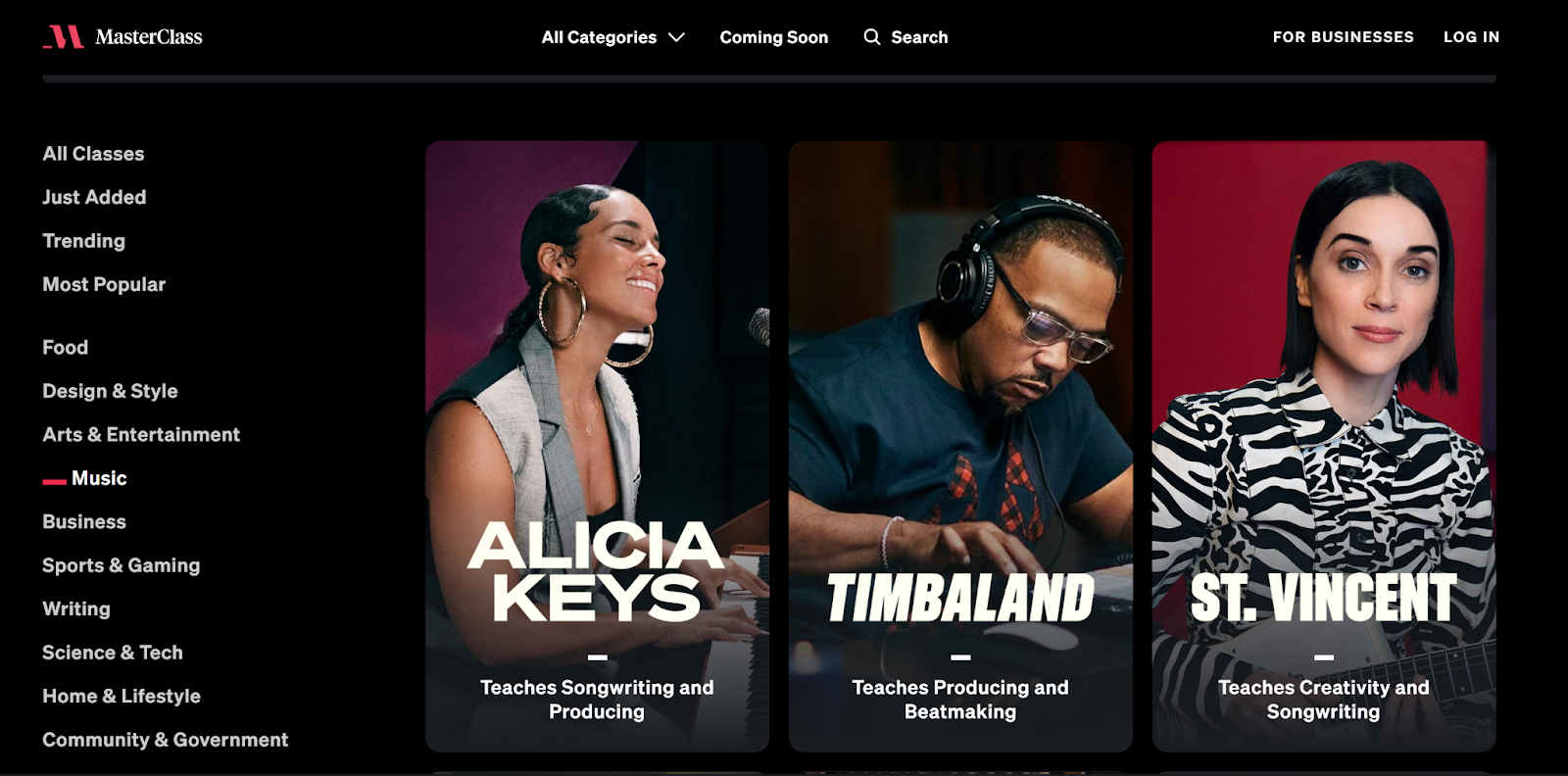 Images of Alicia Keys, Timbaland, and St. Vincent on Masterclass music course page.