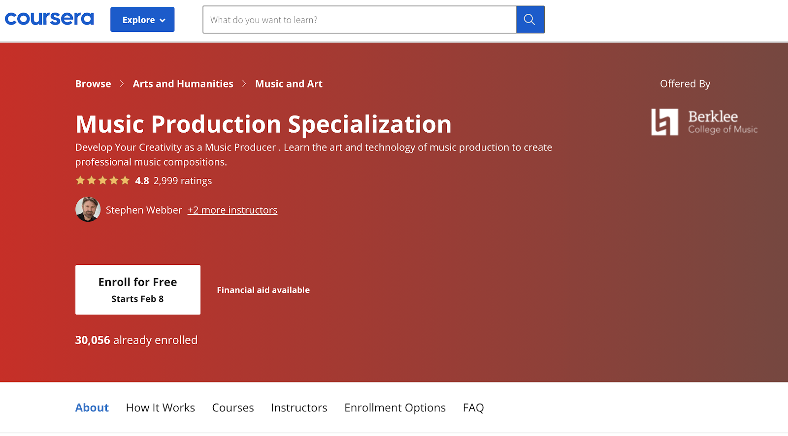 Screenshot of Music Production Specialization course on the Coursera website.