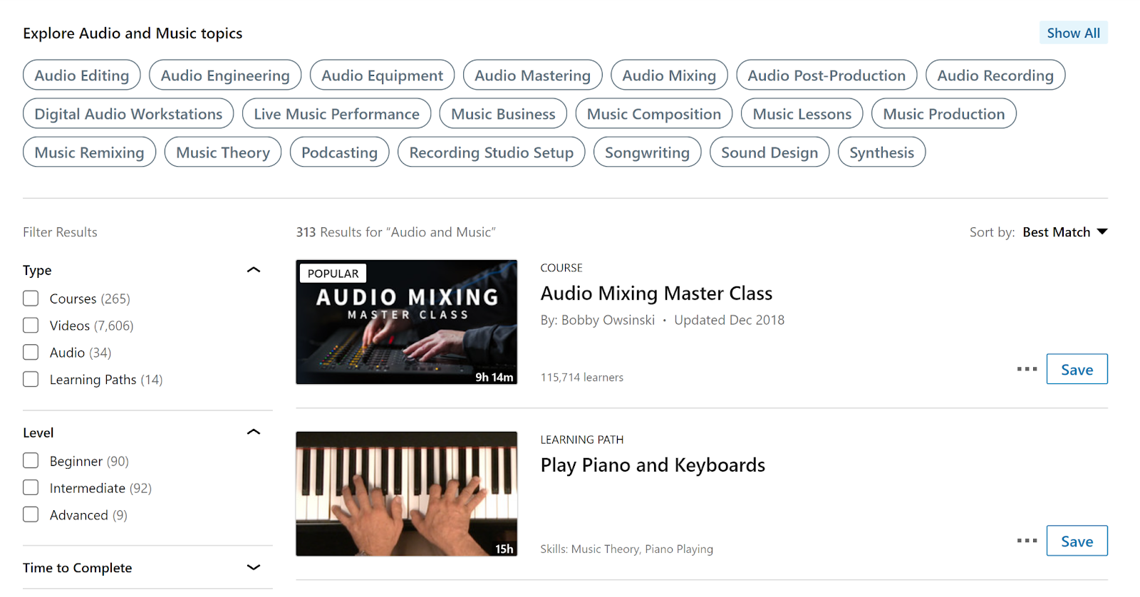 LinkedIn Learning website filtering courses by audio and music production.