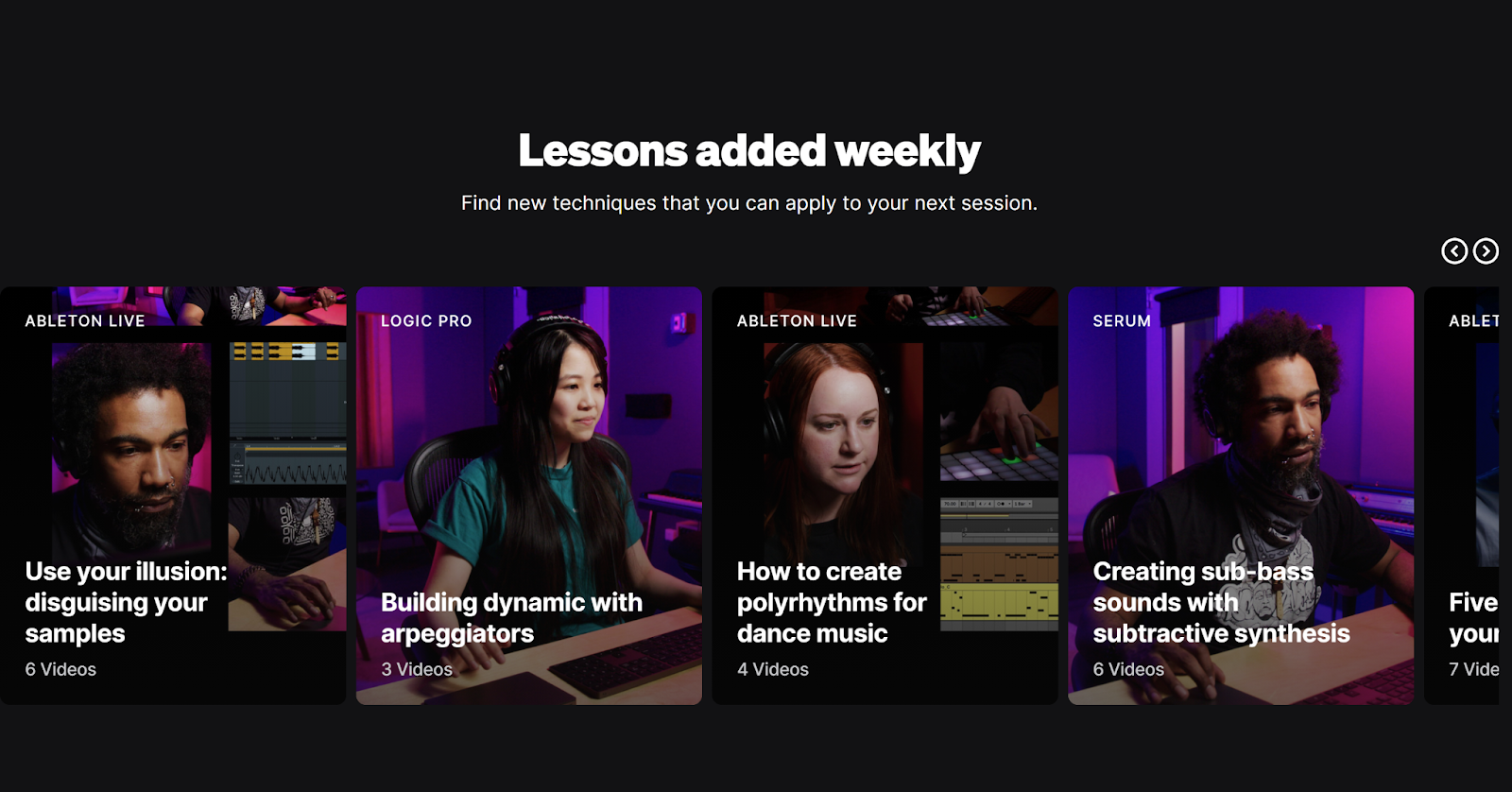 Screenshot of Splice Skills featured courses stating hat new courses are added weekly.