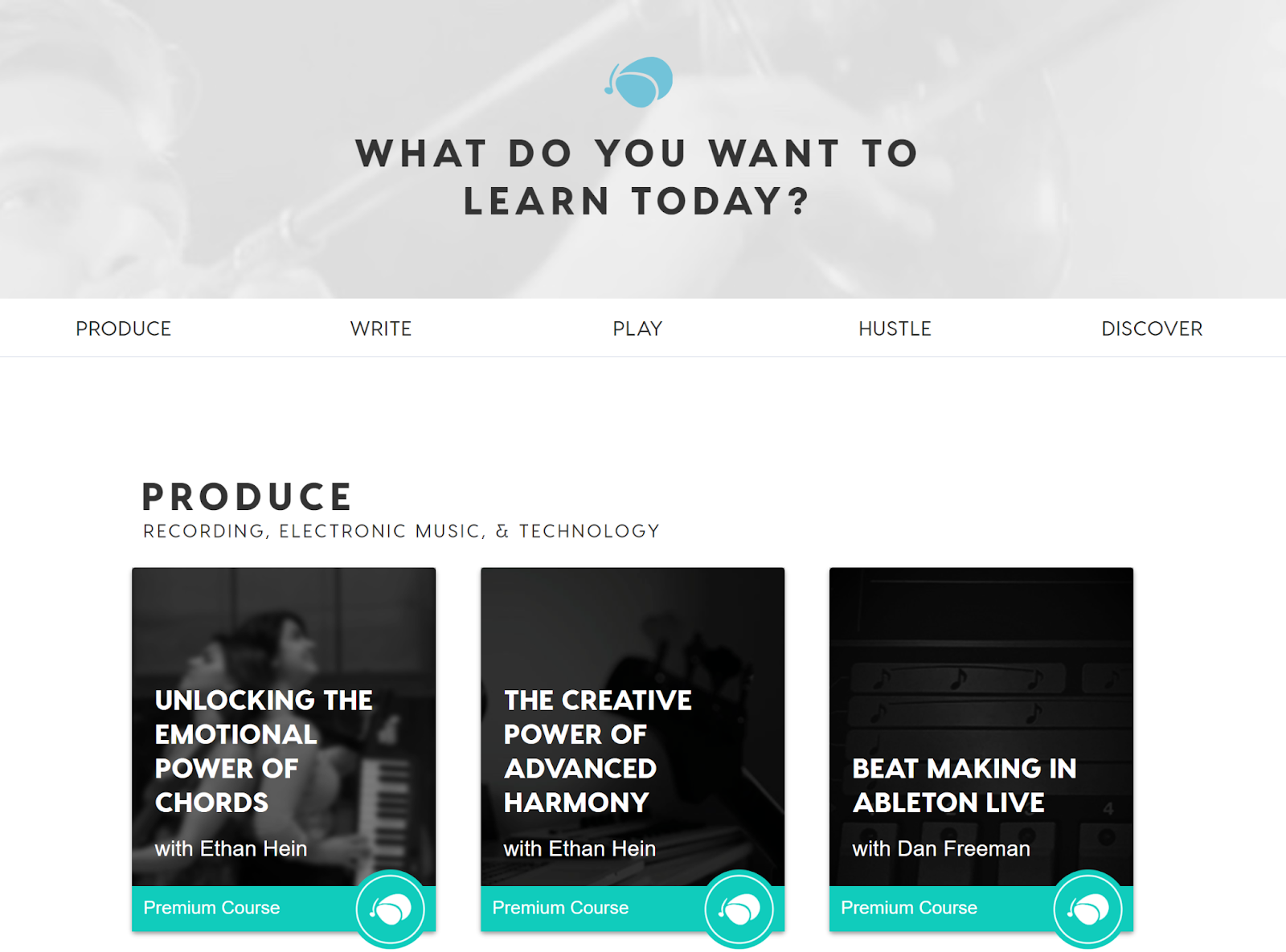 Soundfly website showing production courses related to recording, electronic music, and technology.
