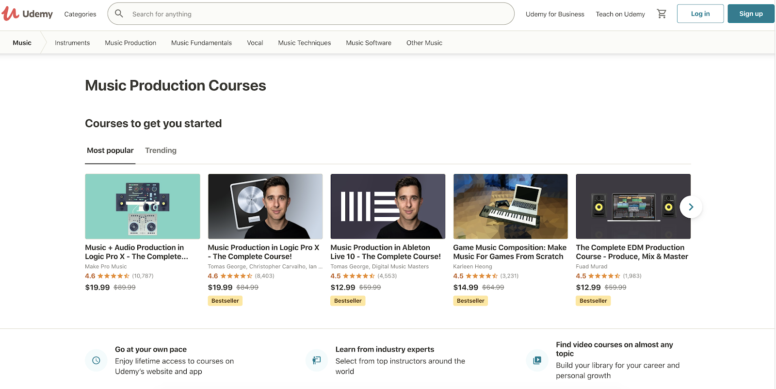 Udemy music production courses sorted by most popular on their homepage.