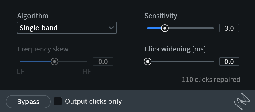 Izotope De-click plugin interface showing sensitivity, click widening, and frequency skewing. It also shows a drop down menu to choose the algorithm to use.t