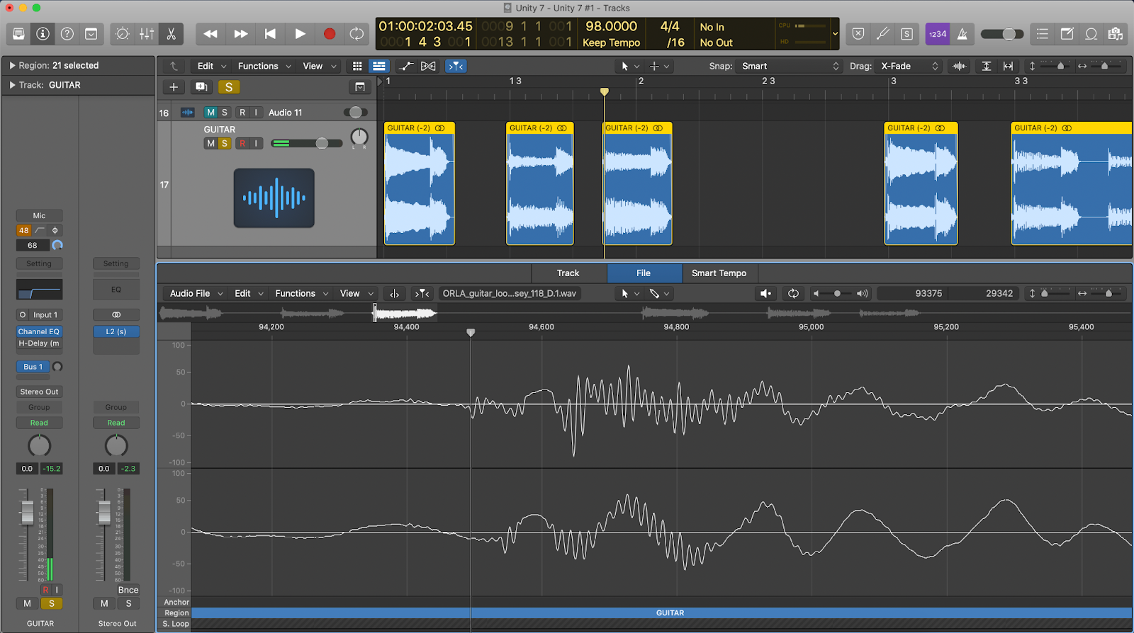 Logic Pro X showing the sample editor window after using the pencil tool to smooth out an audio clip.