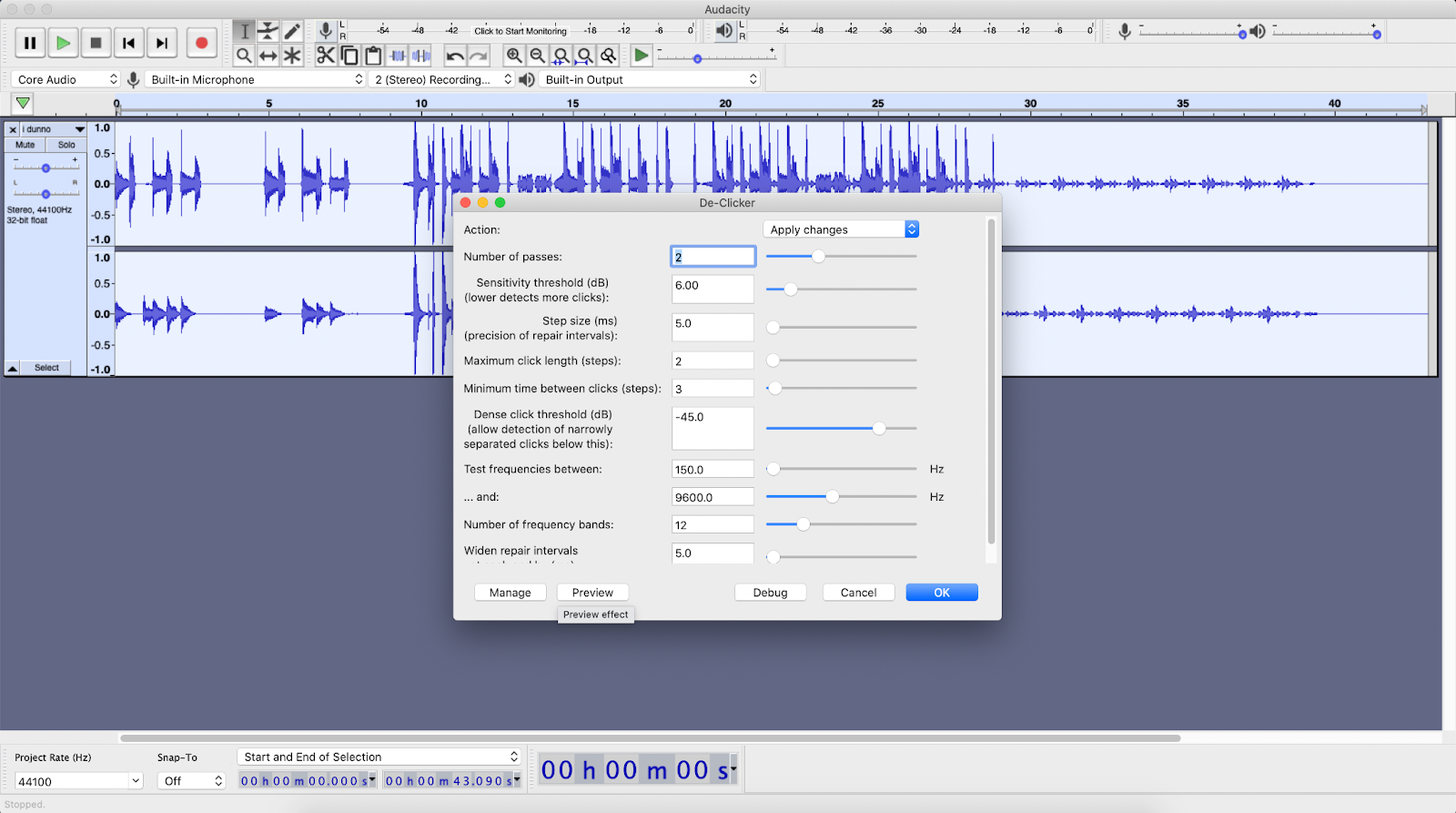 Audacity window with the De-Clicker plugin open to show its settings.