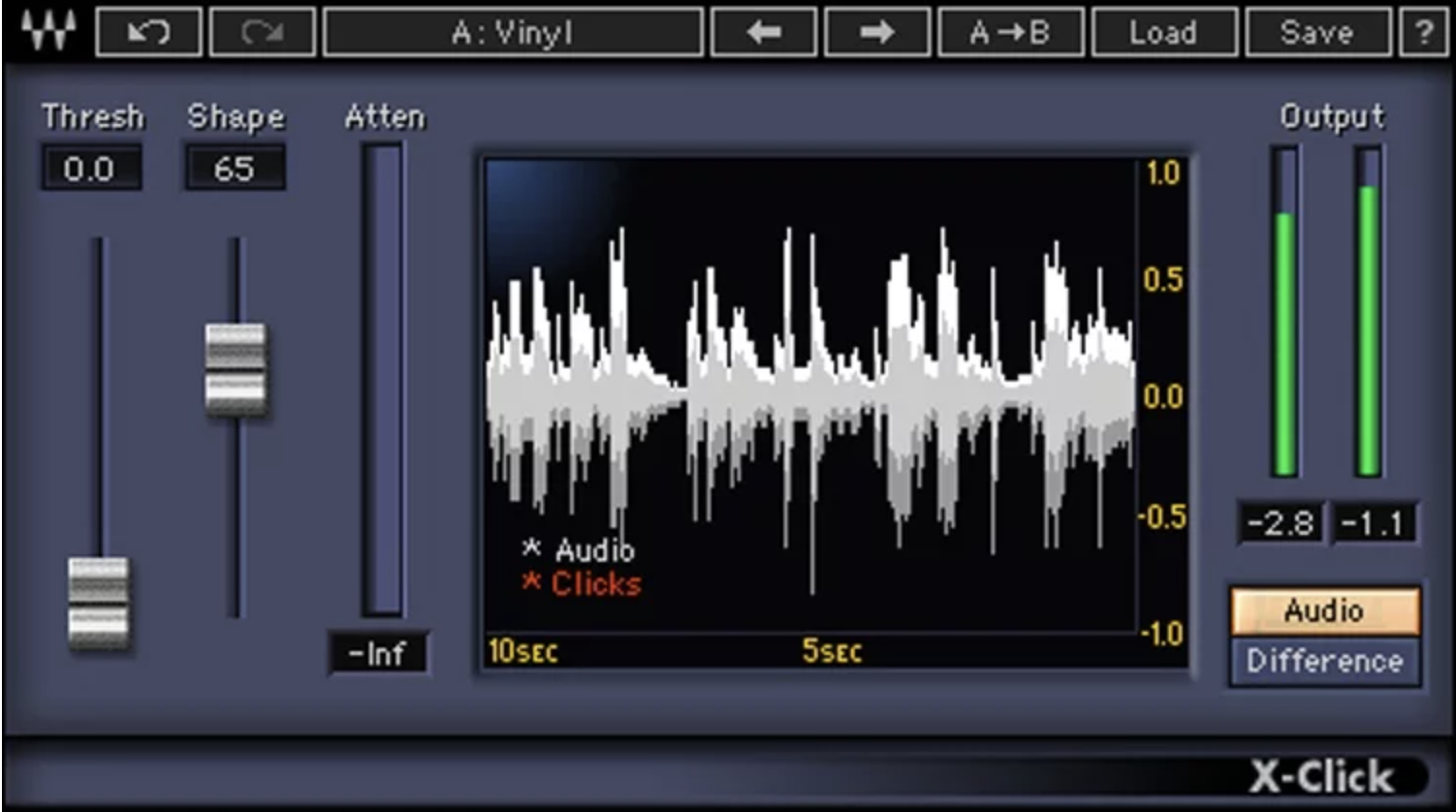 Waves X-Click plugin interface showing the threshold and shape knobs.