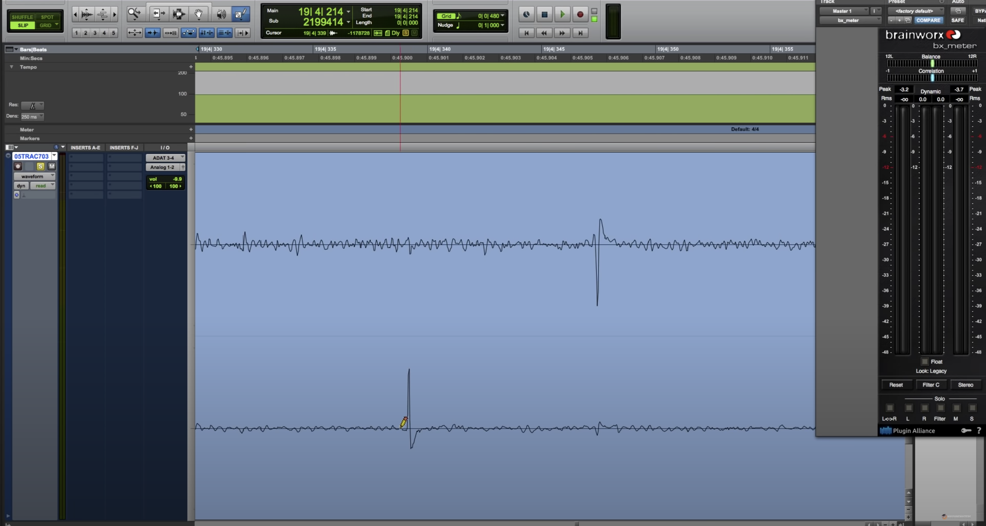 Pro Tools window zoomed in on an audio clip to better see the click that needs repair.