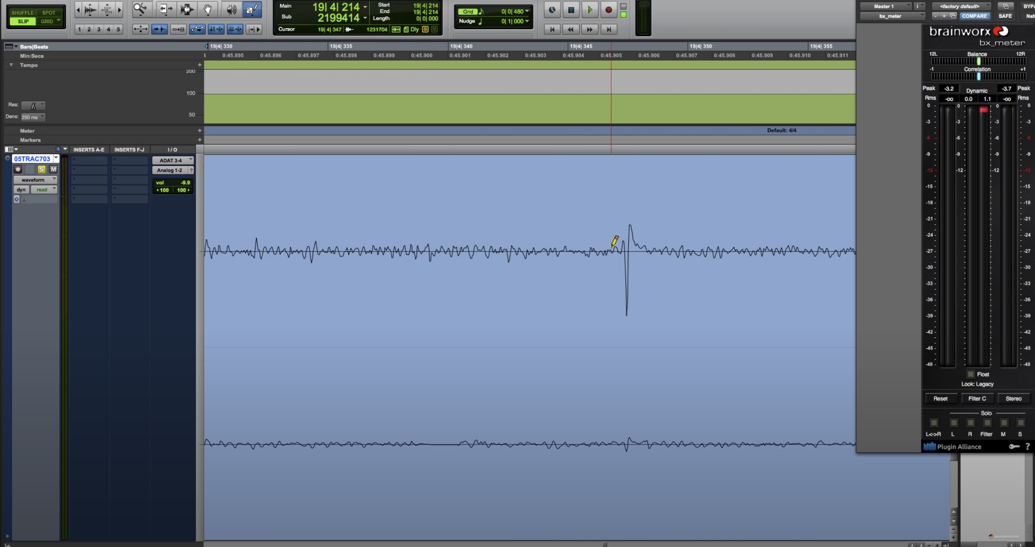 Pro Tools window zoomed in to an audio clip after using the pencil tool to draw a new curve.
