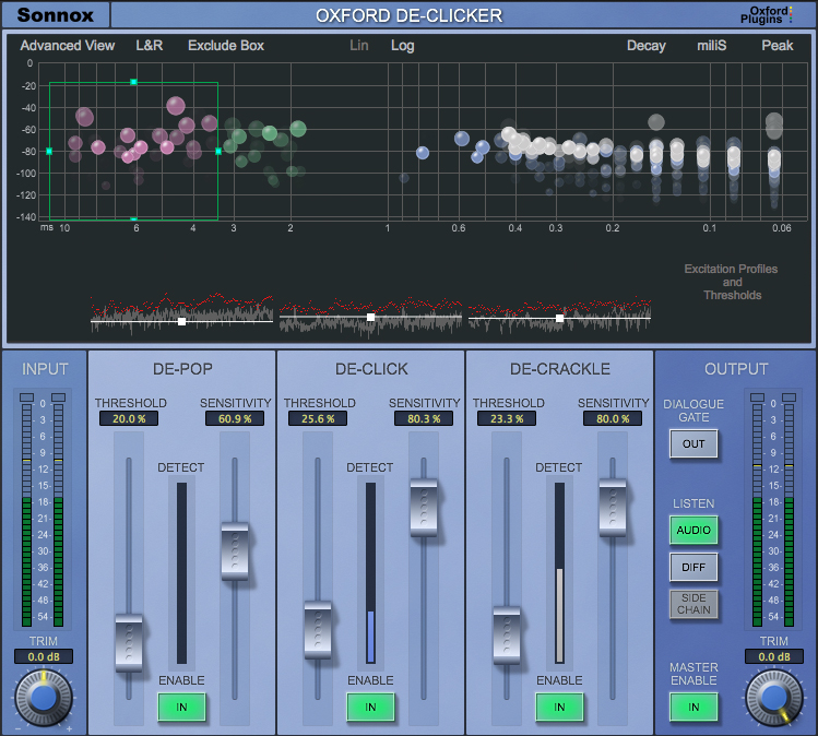 Oxford De-clicker plugin interface showing de-pop, de-click, and de-crackle mix faders.