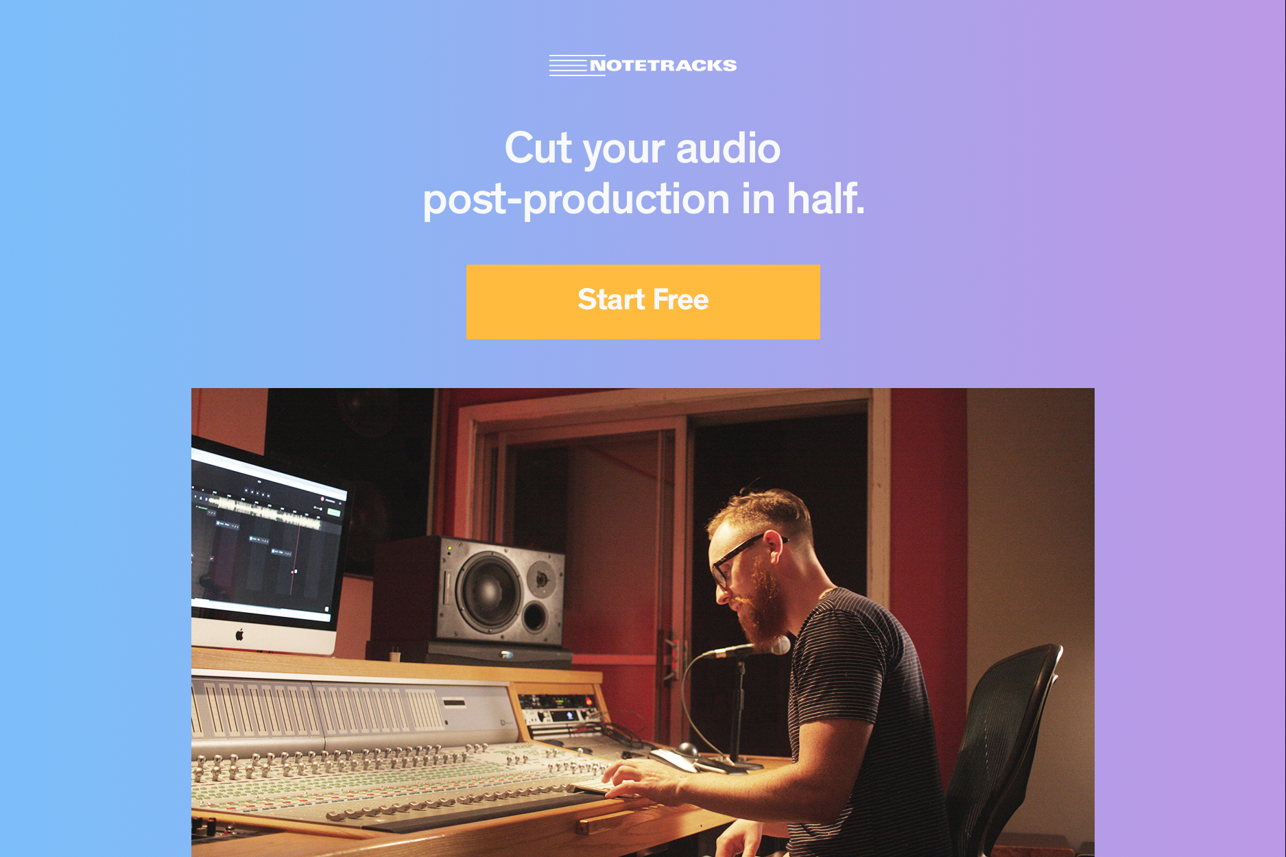 """Man in a recording studio with text that says """"cut your audio post production in half."""""""