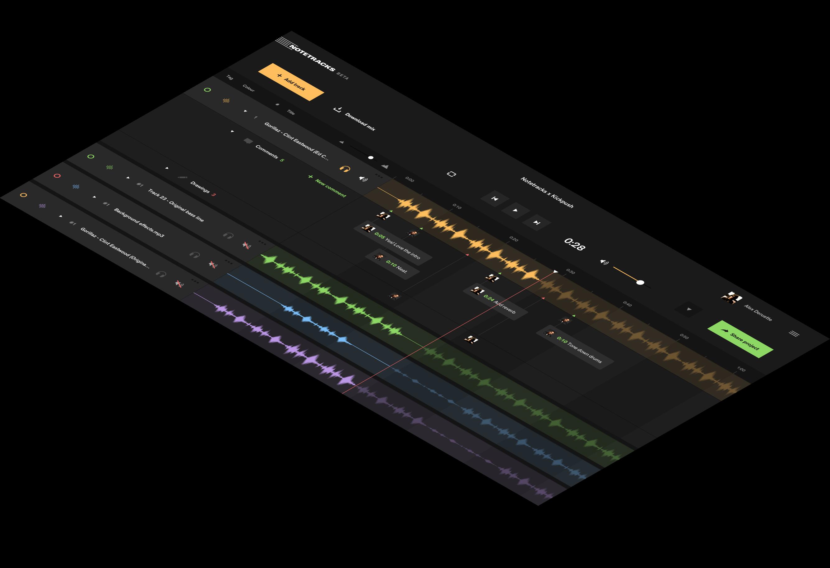 screenview of Notetracks app.