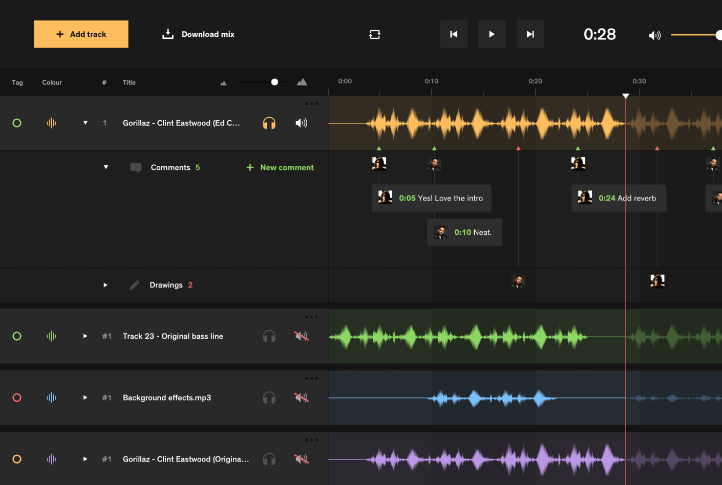 Notetracks screen dashboard
