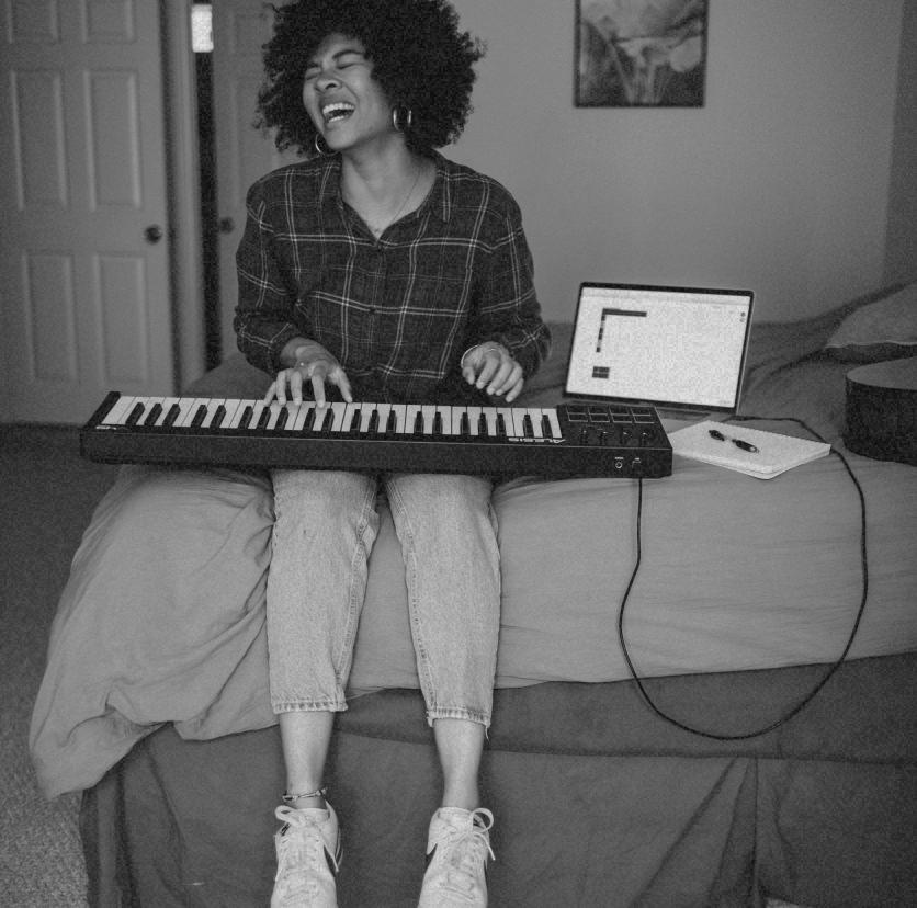 lady on a keyboard