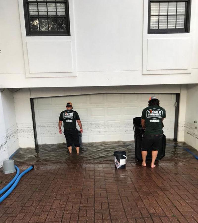 Steam Commander working on water damage restoration