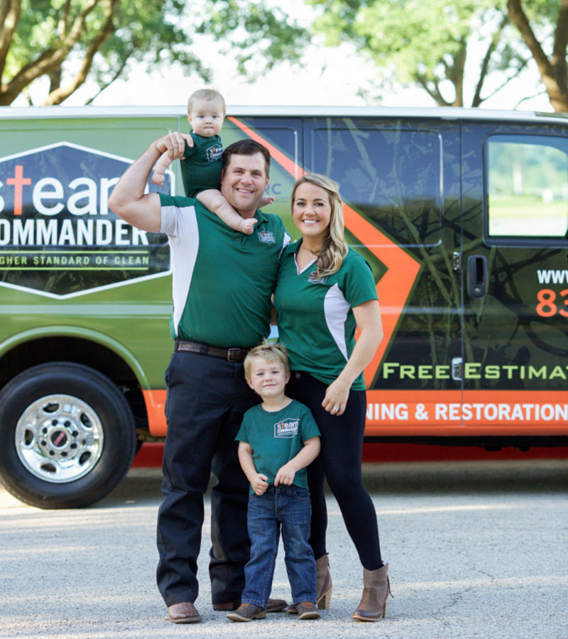Cody and Mary Jo Johnson, owners of Steam Commander, with their children
