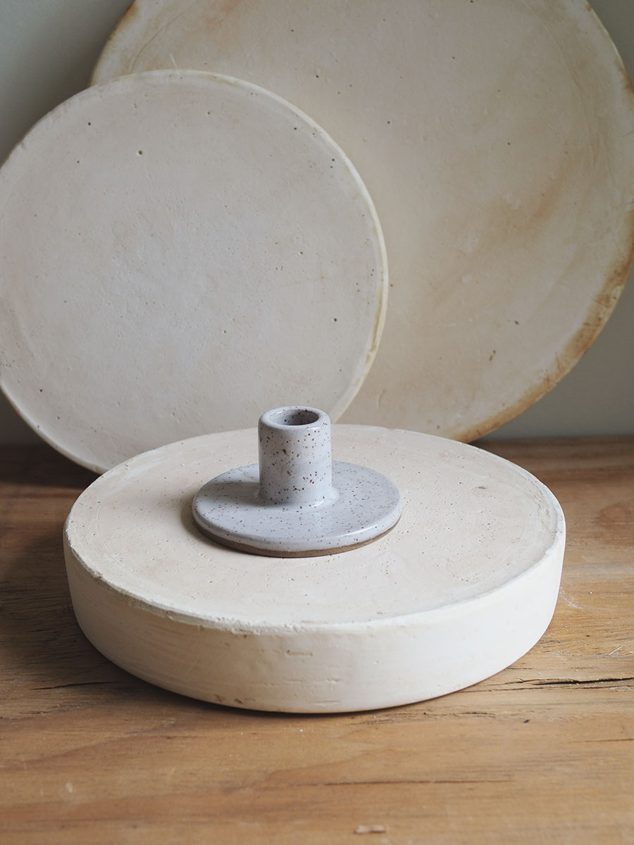 *Seconds* Candle Holder in White on Mixed Clay
