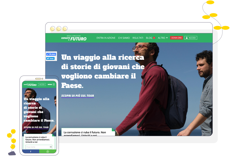 Desktop and mobile screenshots of the website