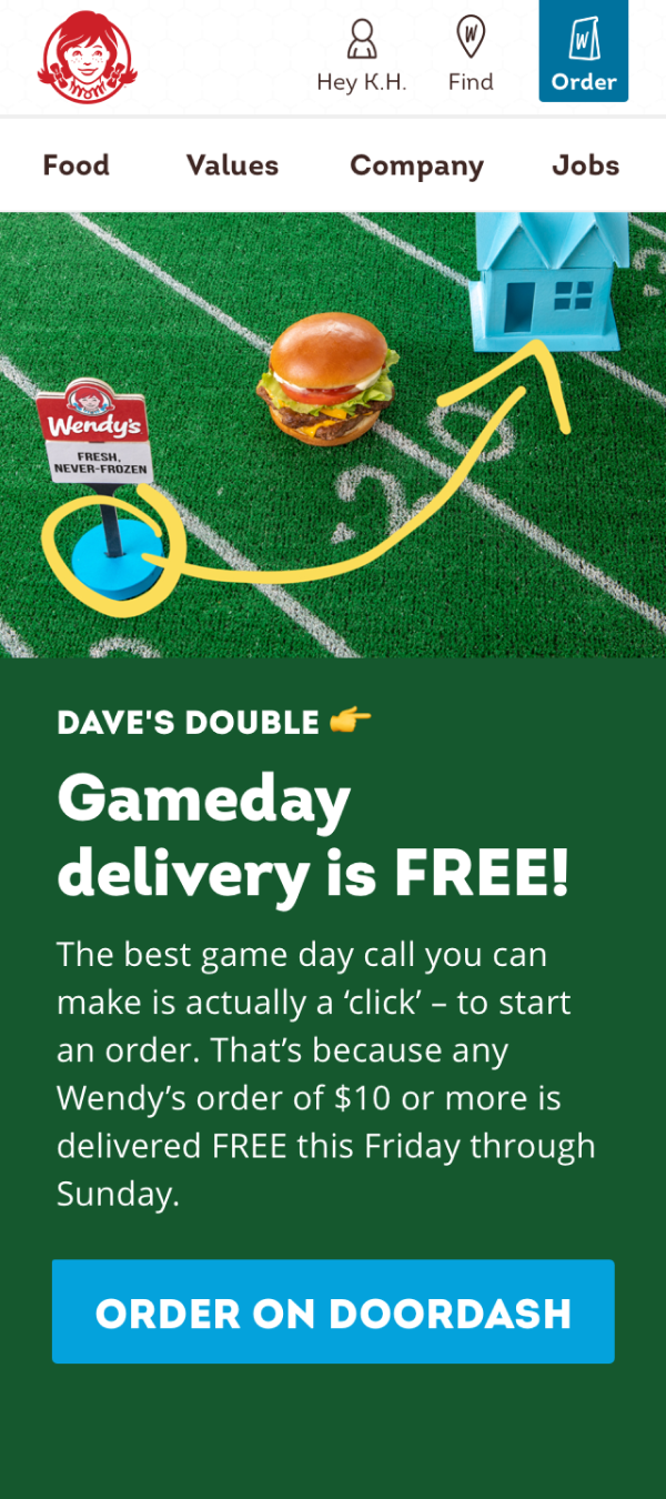 Wendy's homepage NCAA example