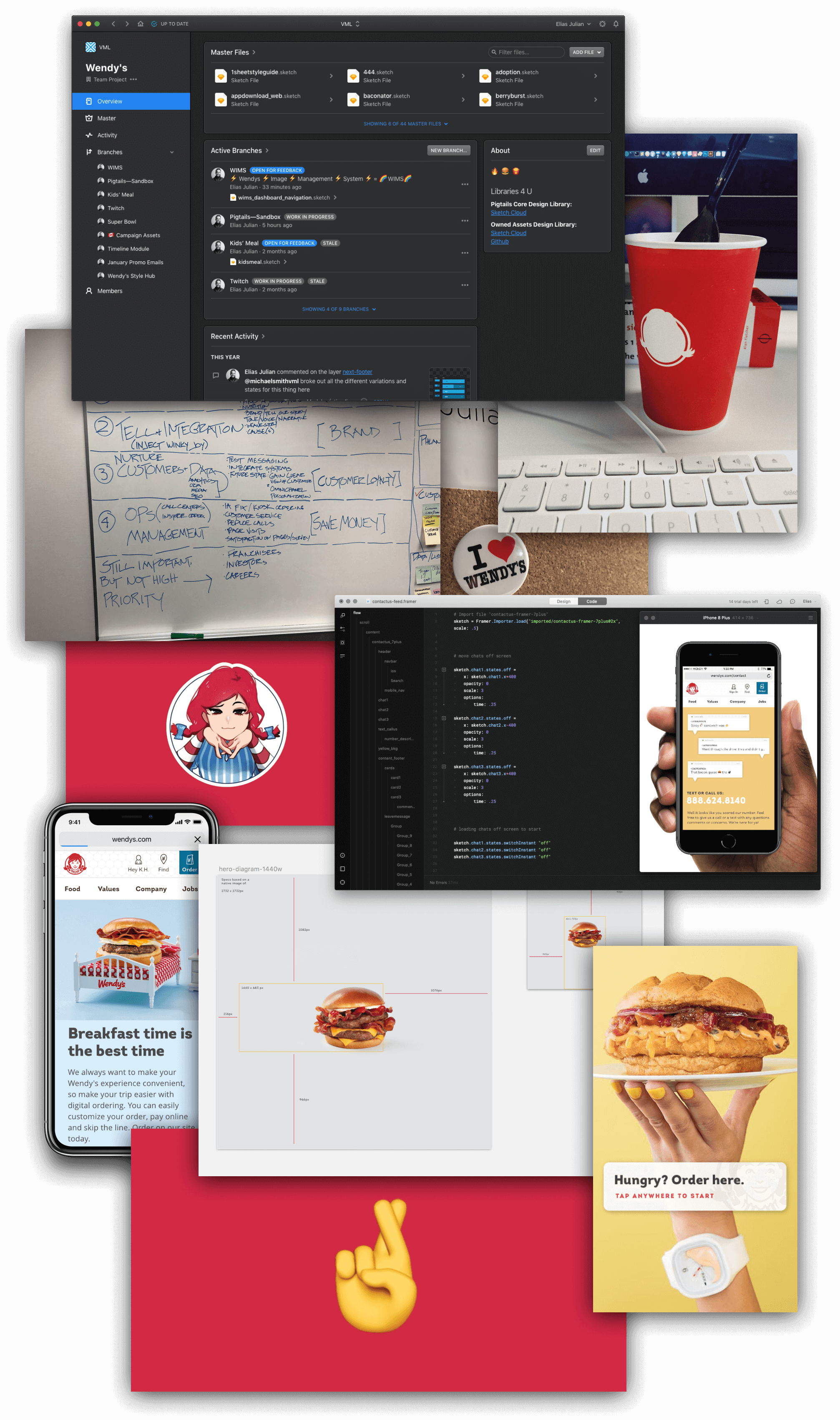 Collage of process artifacts, app screenshots, food pics, and sketches