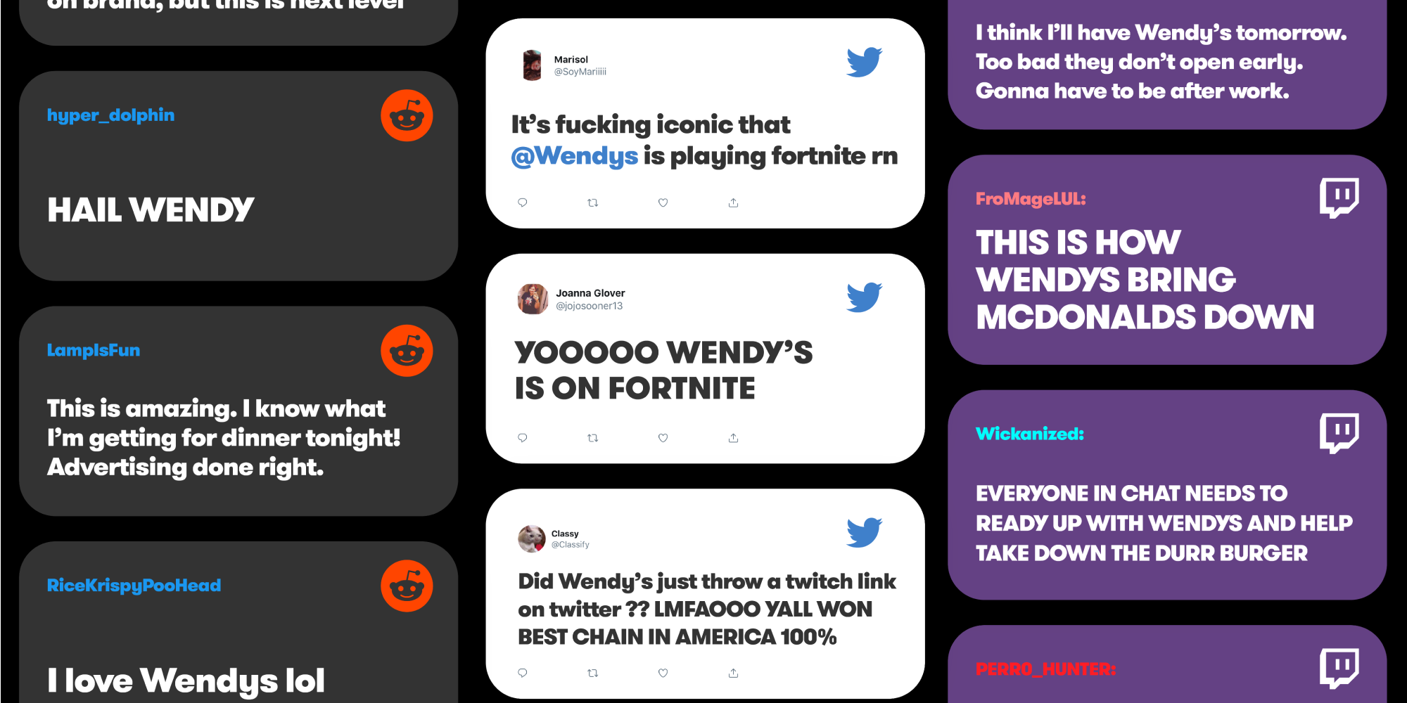 Social comments from reddit, twitter, and twitch about Wendy's streaming
