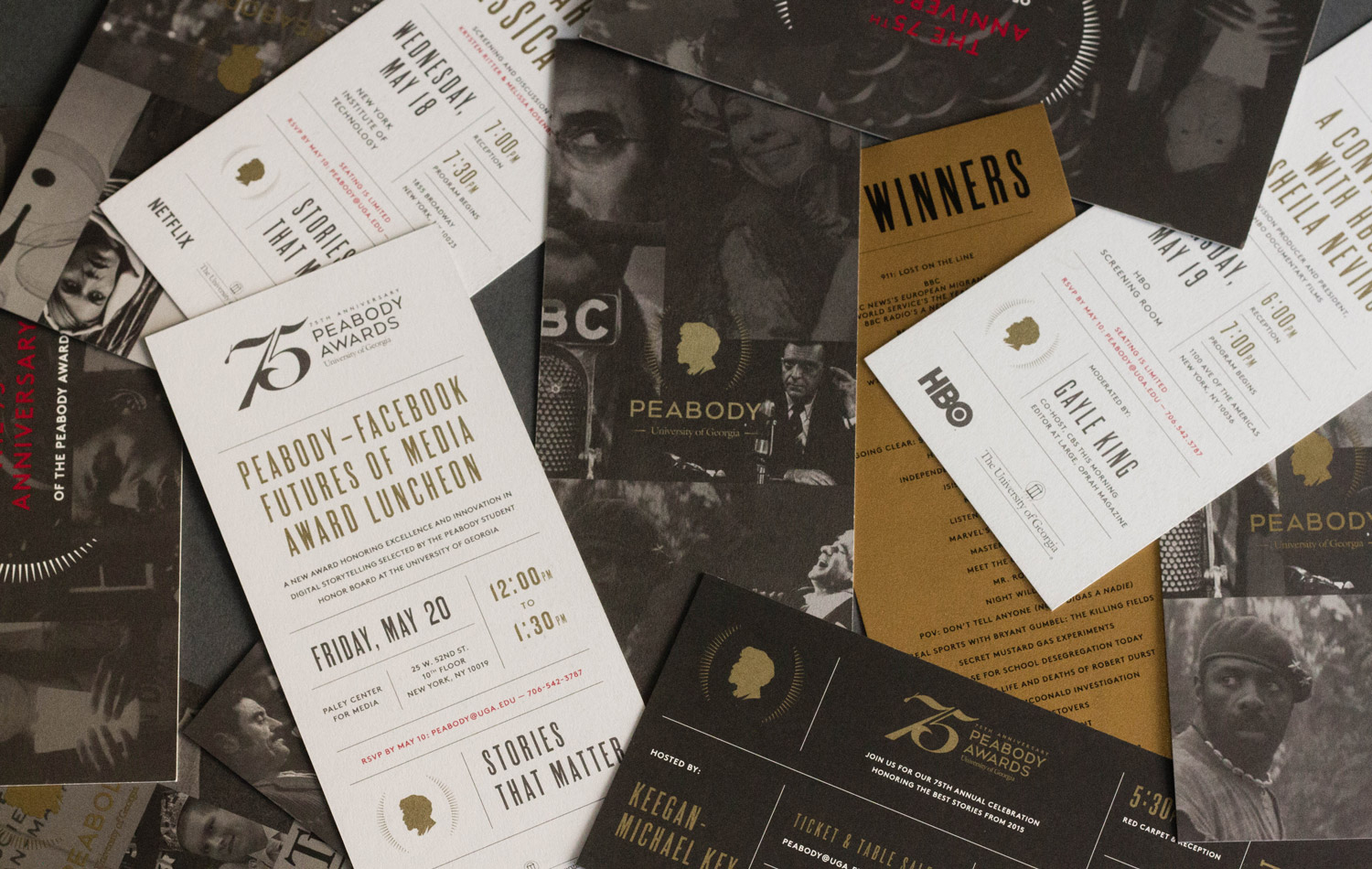 Group of the invitations to show the Peabody Awards design system in action
