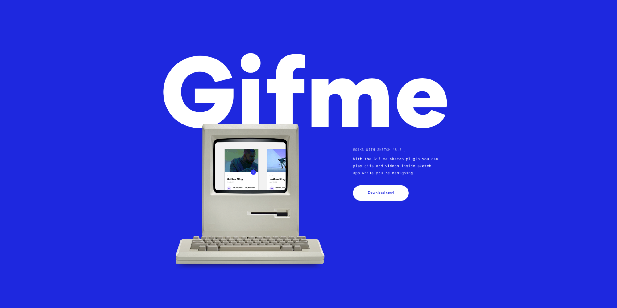 Gif me hero image with retro computer and screenshot showing GIFs in action in Sketch