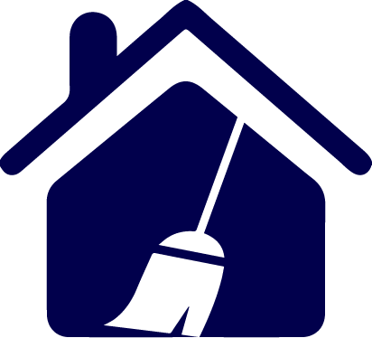 Blue House with broom
