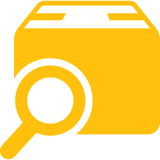 magnifying glass and box