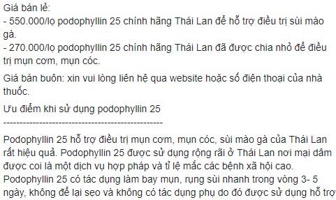 Mua thuốc Podophyllin 25 tại Đồng Nai chữa Dứt Điểm sùi mào gà tận gốc