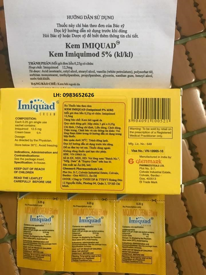 Thuốc imiquimod 5% mua ở đâu và Giá bao nhiêu tiền 1 hộp kem bôi