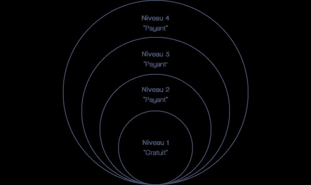 Modèle d'offre Freemium sous forme de couches superposées