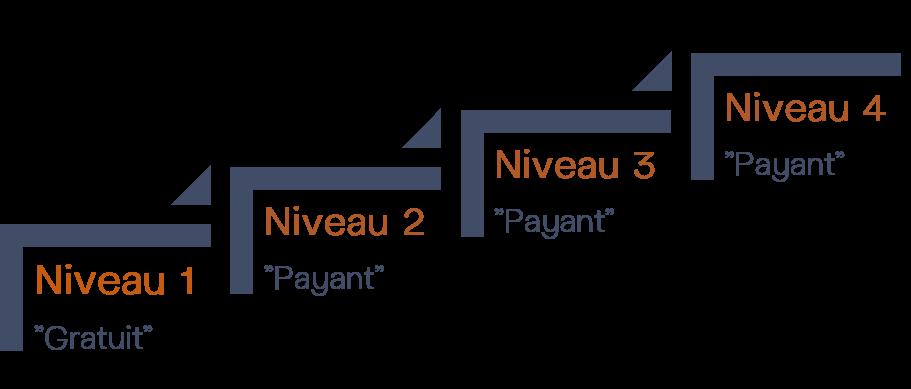 Modèle d'offre Freemium sur 4 niveaux