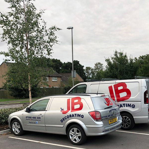 JB Commercial and Domestic painting and decorating services company vans with logo
