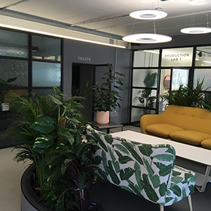 Commercial building decoration lounge area with dark walls