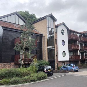 Outside of commercial property decorating, black wood panelling and white render