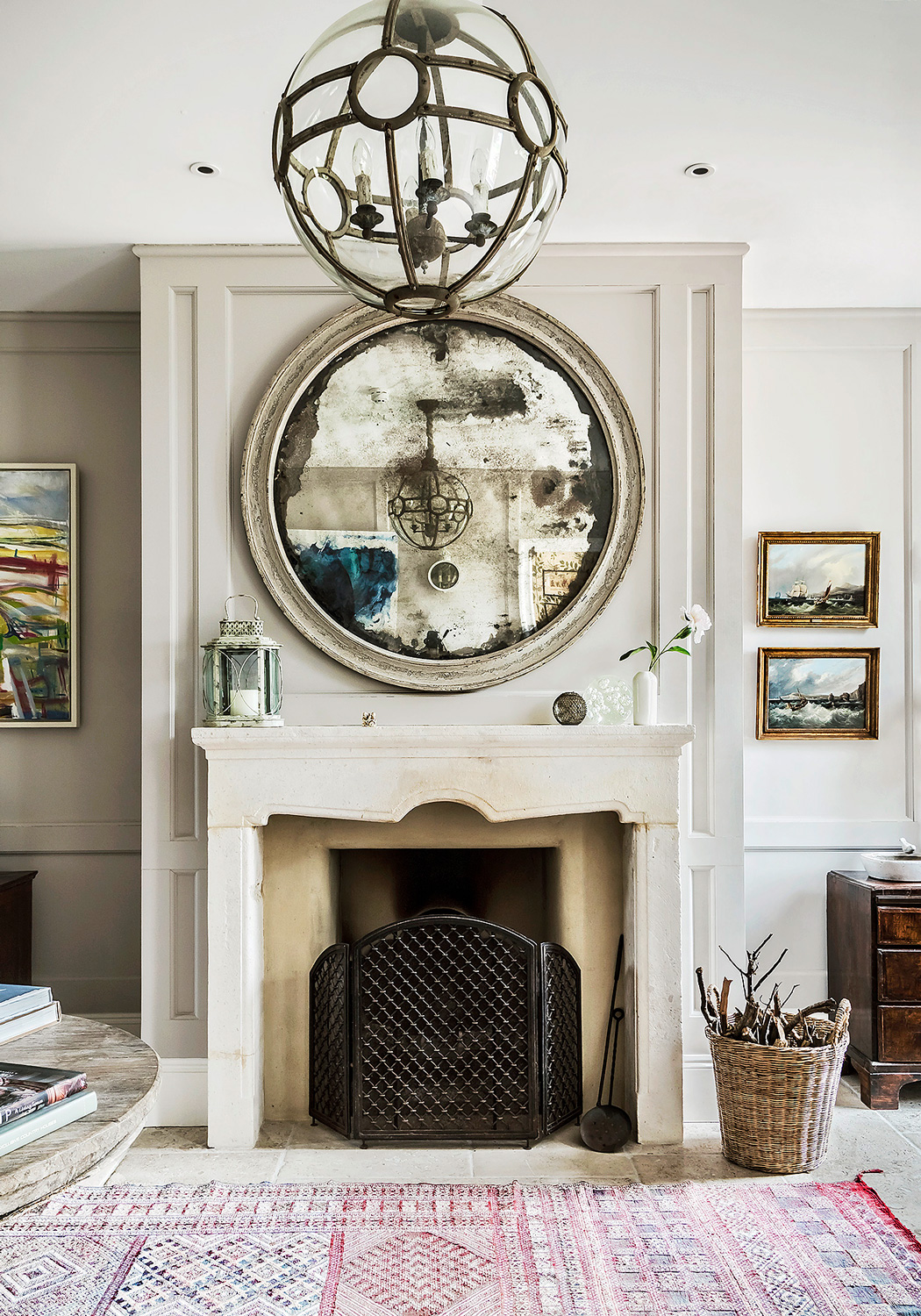 Fireplace and mirror – interior design by Eadie & Crole