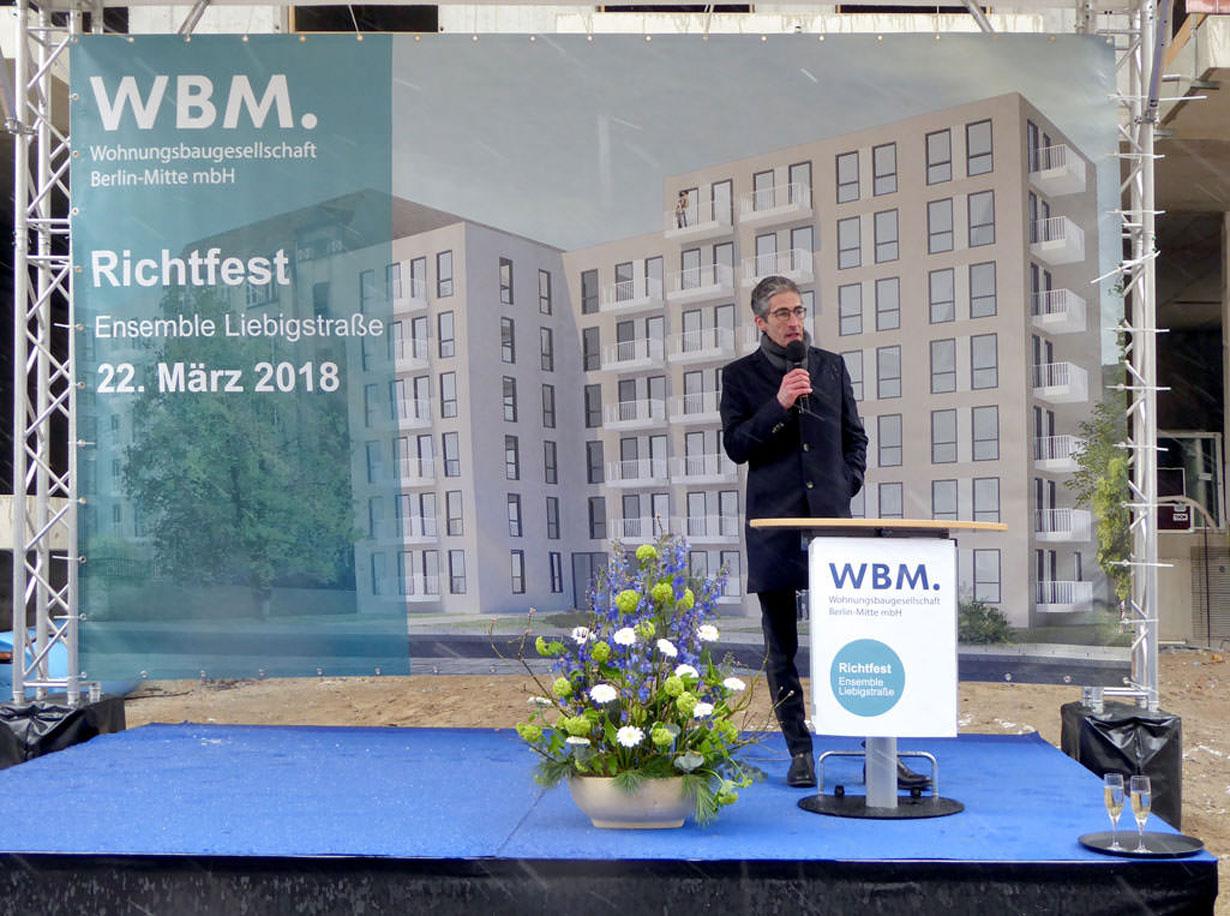 Richtfest für 55 Wohnungen in der Liebigstraße