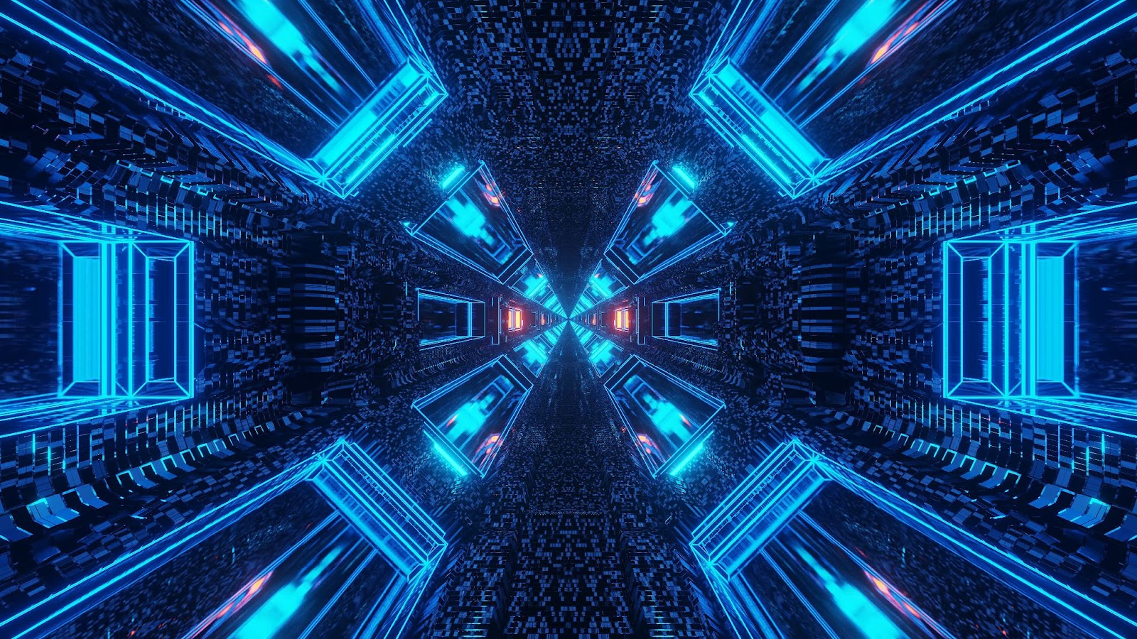 data tunnel with blue neon lights