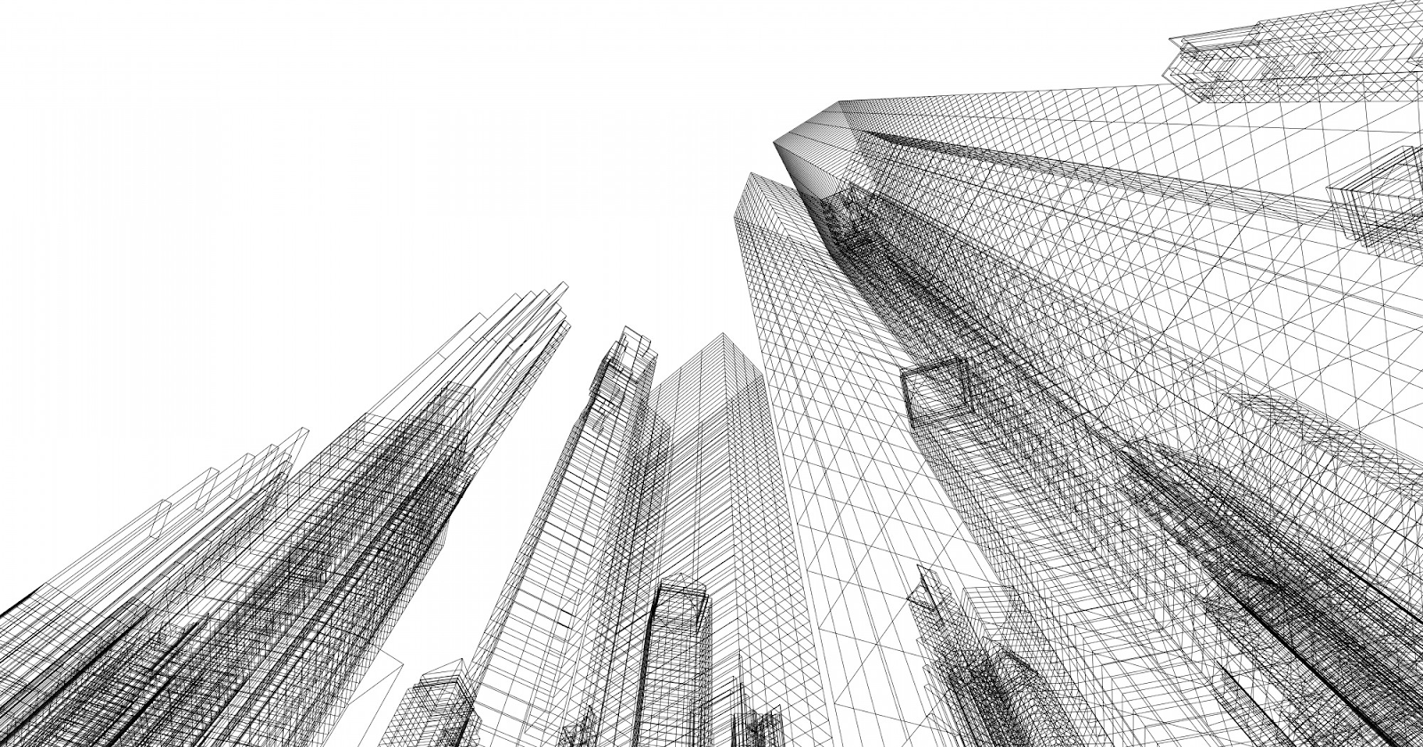 high rise buildings in pencil sketches