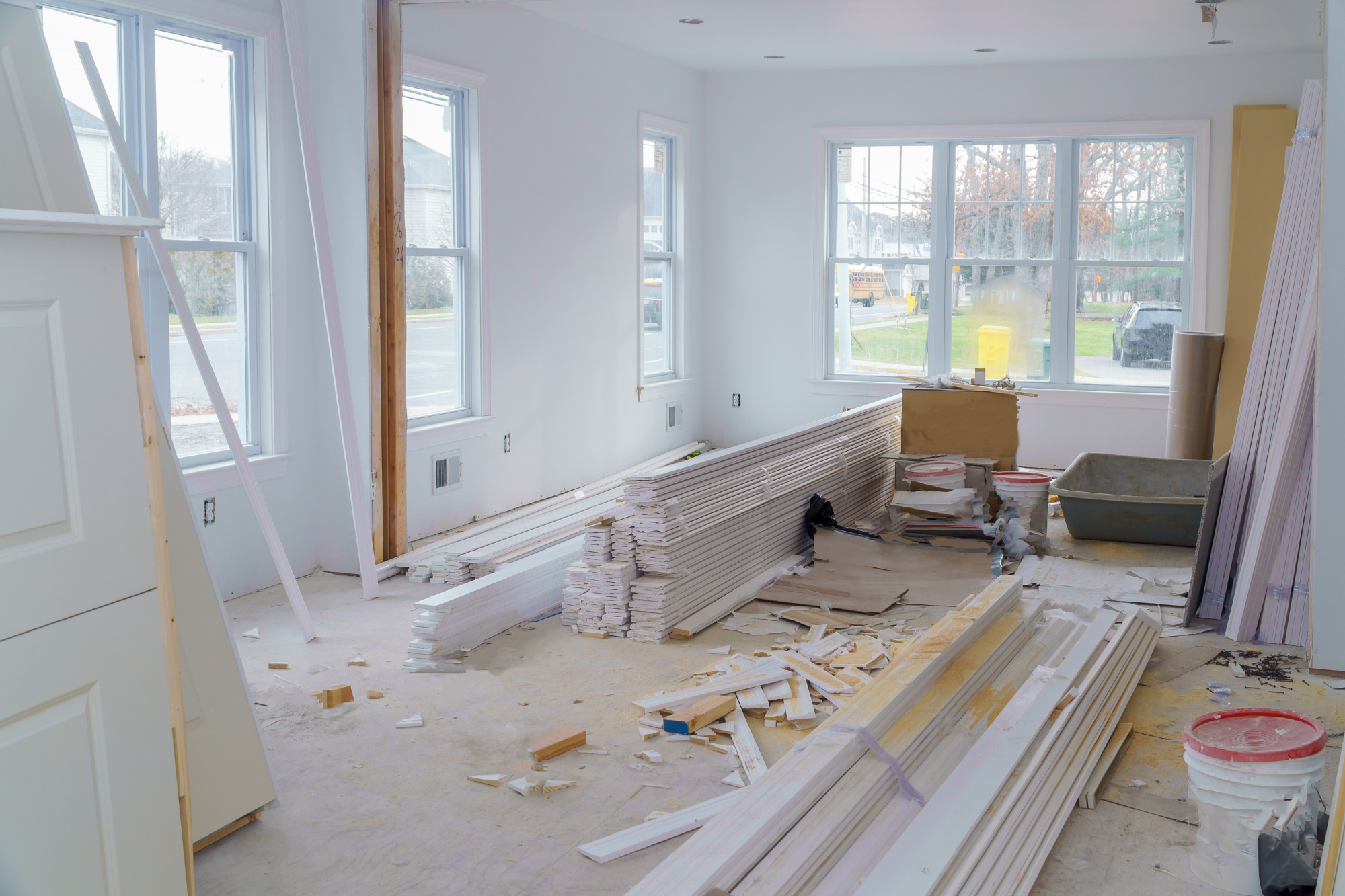 renovation mess in home with white walls