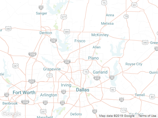 map of Plano, Texas and surrounding areas.
