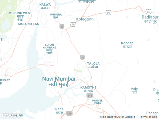 map of Navi Mubai, India and surrounding areas.
