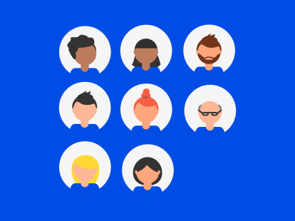 Illustration of a diverse team of people